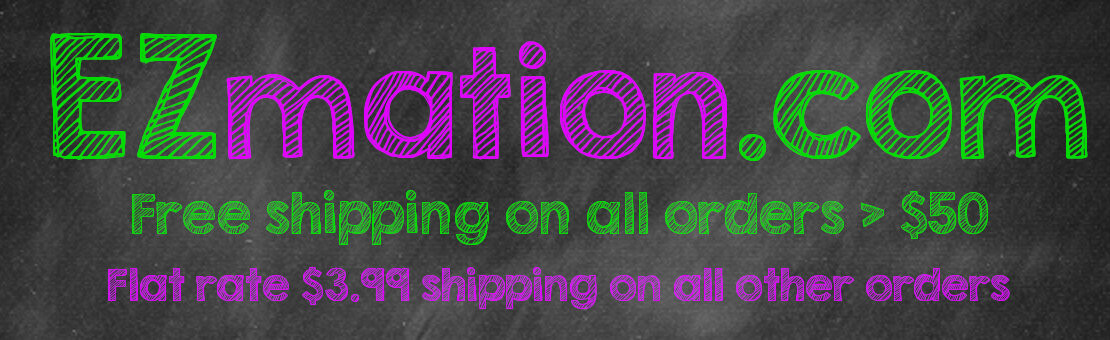 EZmation.com Free shipping on all orders > $50. Flat rate $3.99 shipping on all other orders.